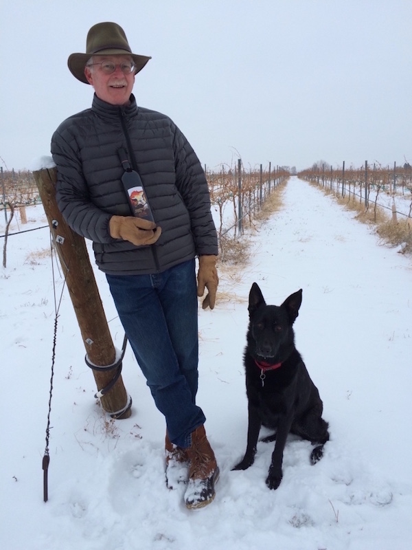 Larry Oates, winemaker/owner of Sleeping Dog Wines in Benton City, Wash., poses in Buoy Vineyard with Jett and a bottle of the Sleeping Dog 2008 Tail Wagger, a blend of Syrah and Cabernet Sauvignon that won best of class and Best of Columbia Valley at the 2015 Grand Harvest Awards wine competition in Santa Rosa, Calif.