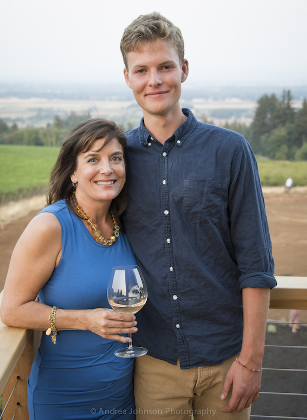 Janie Brooks Hueck stands on the balcony of the new tasting room at Brooks Wines with her nephew, Pascal Brooks. (Photo by Andrea Johnson Photography/courtesy of Brooks Wines)