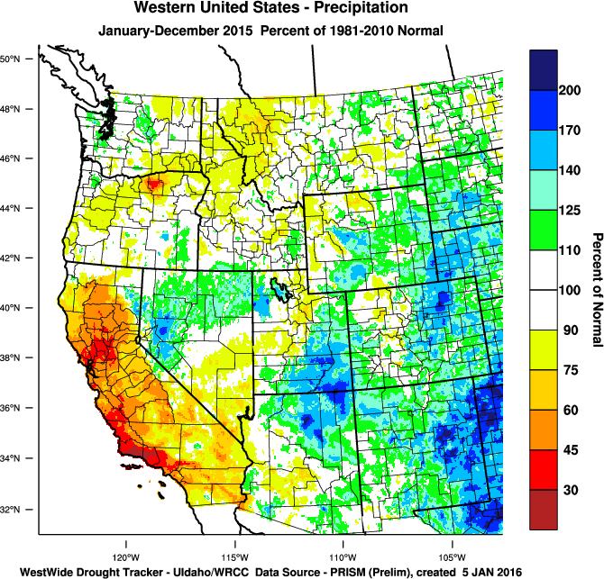 Western U.S. percent of normal precipitation from January through December 2015 from normal (Images from WestWide Drought Tracker, Western Region Climate Center; University of Idaho).