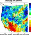 The Western U.S. December 2015  percent of normal precipitation. (Images from WestWide Drought Tracker, Western Region Climate Center; University of Idaho/courtesy of Greg Jones).