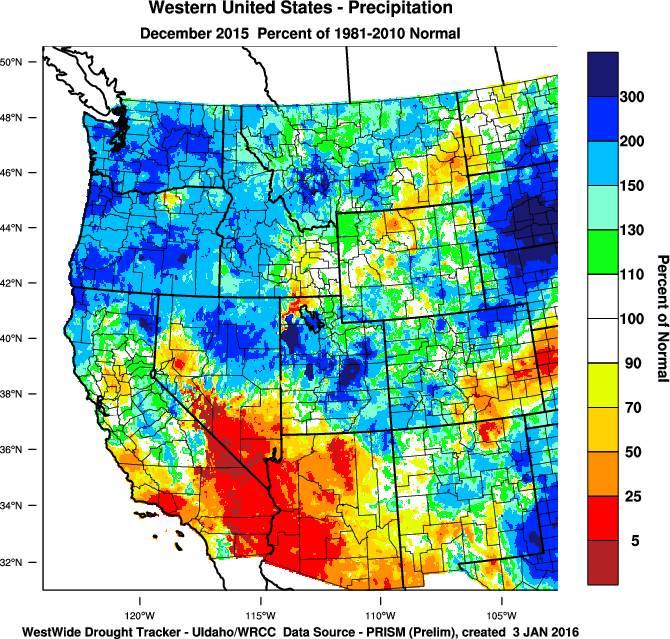 Climate Experts Expect Unpredictable El Niño To Weaken This Spring - Map of western region of us