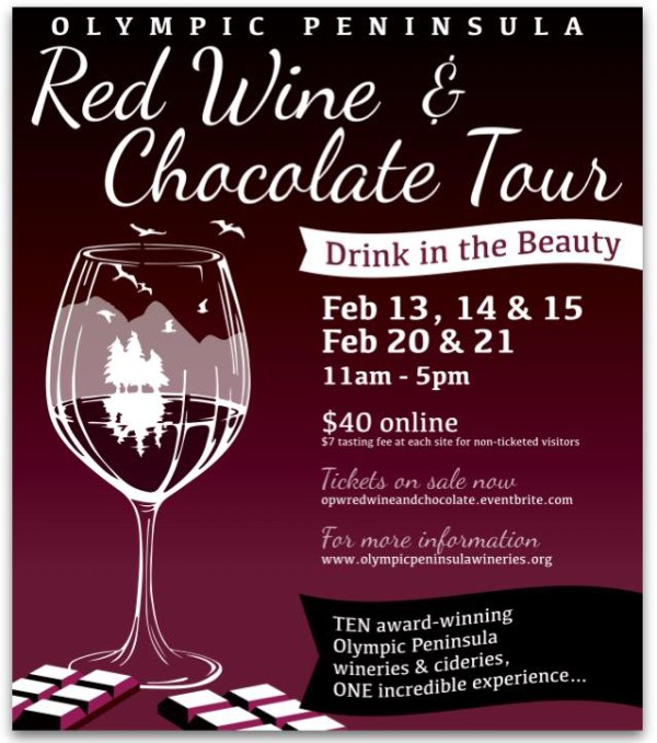 Olympic Peninsula Winery Association Red Wine and Chocolate Tour 2016 poster
