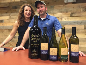 Carrie and Earl Sullivan celebrate the opening of Telaya Wine Company's 12,000-square-foot tasting room and production facility on Feb. 2, 2016 in the Boise suburb of Garden City, Idaho.