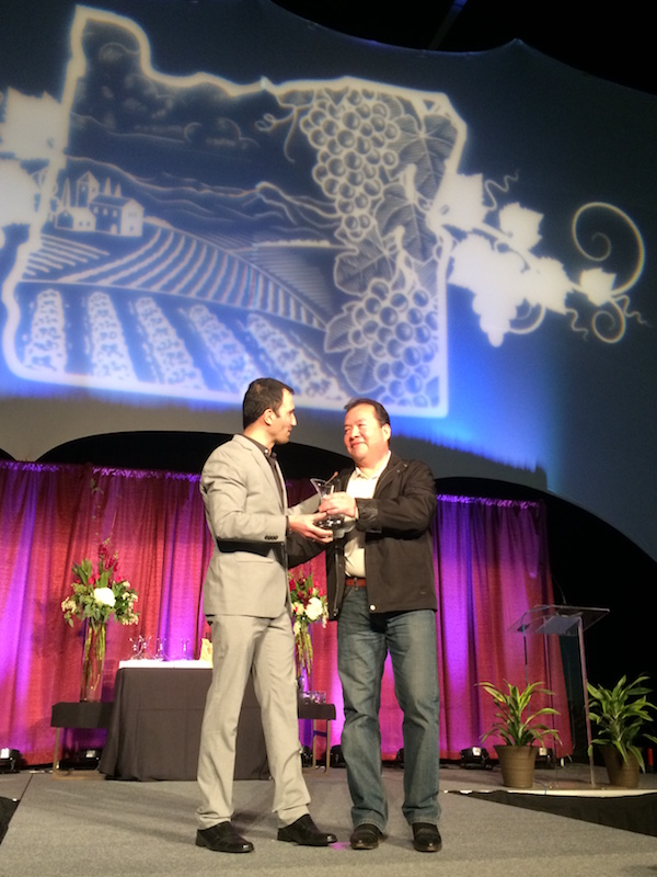 Oregon Wine Board director Juan Pablo Valot lleft, presents Efren Loeza of Willamette Valley Vineyards with the I wanted to share the news that our Vineyard Manager, Efren Loeza earned the Oregon Wine Board's Vineyard Excellence Award.