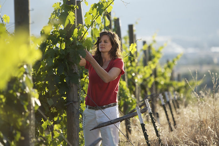 Rachael Martin, winemaker and co-owner of Red Lily Vineyards in Jacksonville, Ore., examines vines at RoxyAnn Vineyard near Meford. (Photo by Maddox Visual Productions/Courtesy of Red Lily Vineyards)