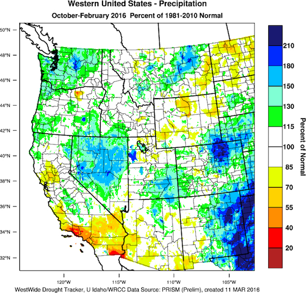 The 2015-16 water year to date, which began in October, shows percents of normal precipitation.