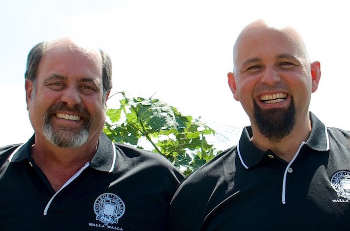 Viticulture instructor Jeff Popick, left, and winemaking instructor Tim Donahue collaborated on the College Cellars 2013 Clarke Vineyard Merlot, which was selected as the best Merlot at the 2016 TEXSOM International Wine Competition in Dallas.