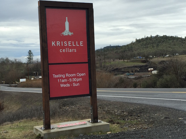 Table Rock Plateau looms in the background to the west of Kriselle Cellars, which was established 10 miles north of Medford (Ore.) Airport.