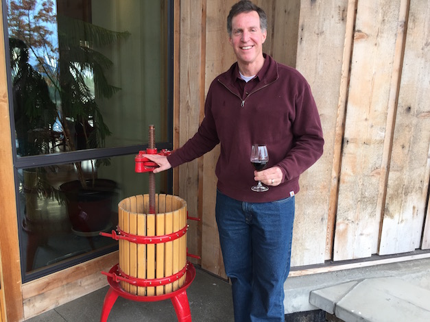 Scott Steingraber began to develop his interest in winemaking while working on bridge projects along the West Coast, including the Tacoma (Wash.) Narrows Bridge. The wine press displayed outside of his Kriselle Cellars tasting room is the first wine press he used as a home winemaker.