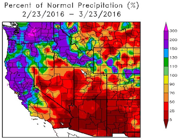 This image of the western United States from Feb. 23 to March 23, 2016 indicates the percent of normal precipitation (Image by High Plains Regional Climate Center/courtesy of Greg Jones)