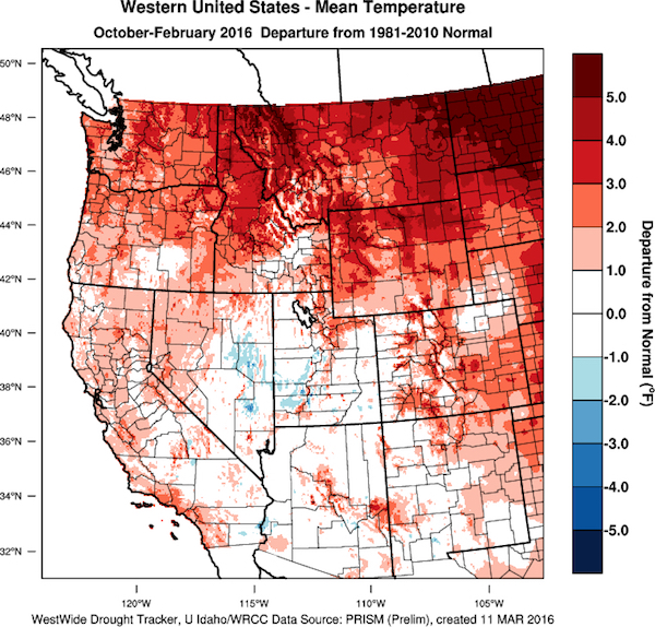 The Western United States continues to see temperatures departing from normal. (Images by WestWide Drought Tracker, Western Region Climate Center; University of Idaho/courtesy of Gregory Jones).
