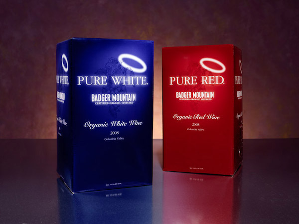Badger Mountain Vineyard produces bag-in-the-box organic wines called Pure Red and Pure White, and the line is available in high-end grocers. (Photo courtesy of Powers Winery)