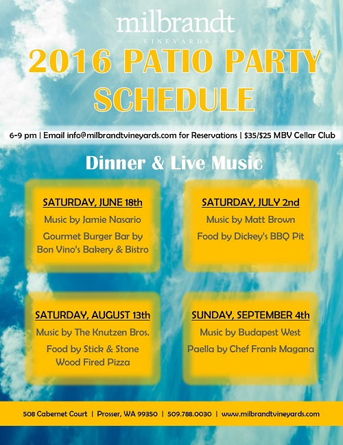 2016 Patio Party Schedule