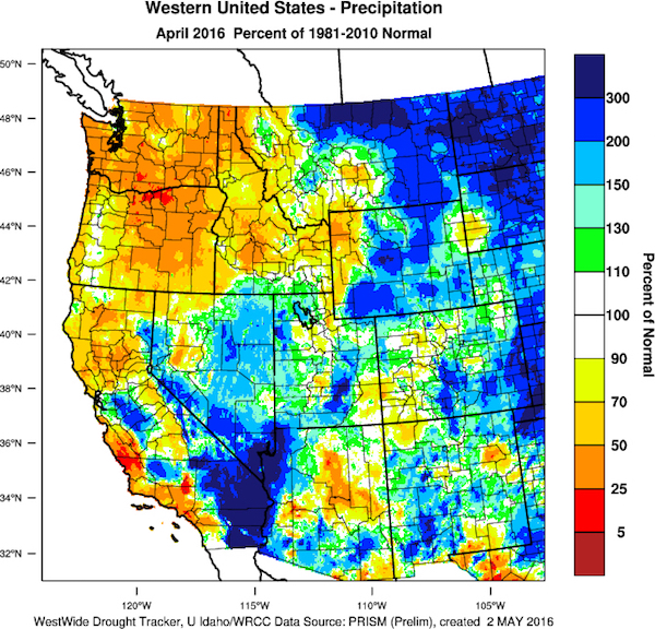 This chart of the West Coast of the United States reflects the precipitation departure from normal for the month of April 2016. (Image from the WestWide Drought Tracker, Western Region Climate Center and University of Idaho/courtesy of Greg Jones)