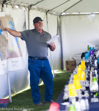 Marshall Edwards, vineyard operations manager Shaw Vineyards and Northwest Vineyard Management, provides an overview of the Quintessence Vineyards tasting May 12, 2016 on Washington's Red Mountain.