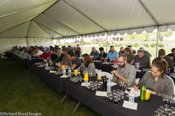 Winemakers assemble for the annual Quintessence Vineyards tasting on Washington's Red Mountain.