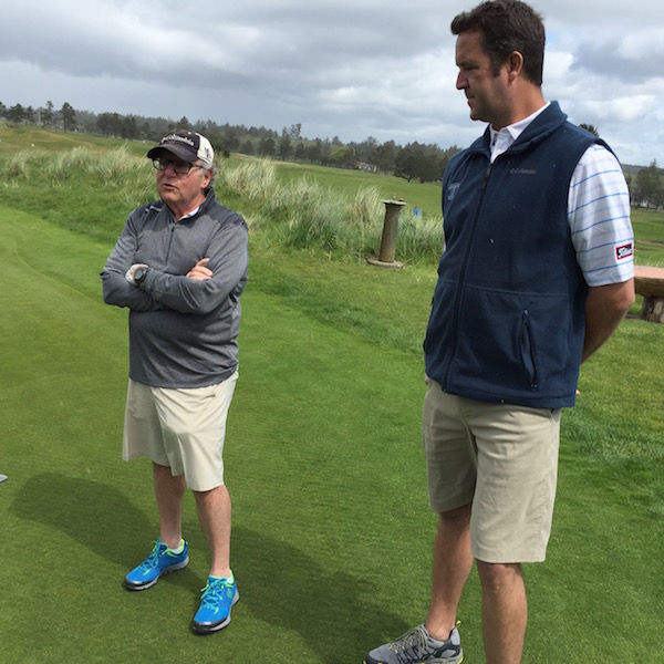 Tim Boyle, CEO of Columbia Sportswear, details some of the recent improvements at Gearhart (Ore.) Golf Links, which include the hiring of PGA professional Jason Bangild, right, as his general manager and director of golf.