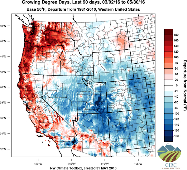 The Pacific Northwest continues to experience temperatures warmer than normal.