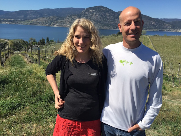 Lyndsay O'Rourke and Graham O'Rourke began to plant their vineyard in 2007, and the estate site overlooking Okanagan Lake now supplies about 50 percent of the fruit for their Tightrope Winery near Penticton, British Columbia. (Photo by Eric Degerman/Great Northwest Wine)