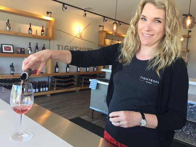 Tightrope winemaker Lyndsay O'Rourke pours her 2015 Rosé, which was among the six wines to merit a gold medal at the 2016 Cascadia Wine Competition.