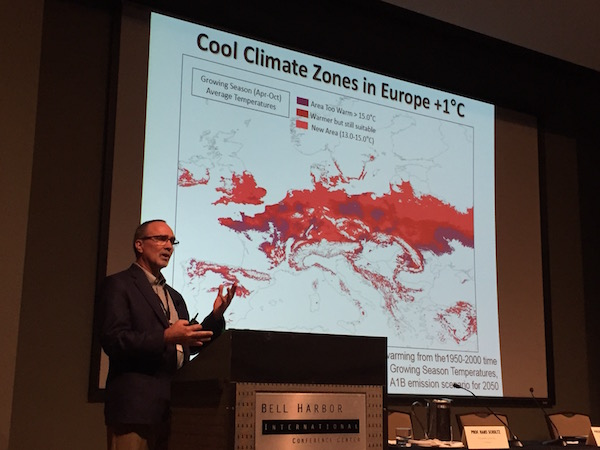 Greg Jones, professor at Southern Oregon University, shares research on the increase in temperatures within cool climate zones in Europe as part of the program for Riesling Rendezvous. Jones served as a presenter with Hans Schultz of Geisenheim University for The State of Riesling: Climatic Trends, Current Growing Conditions and Future Projections.