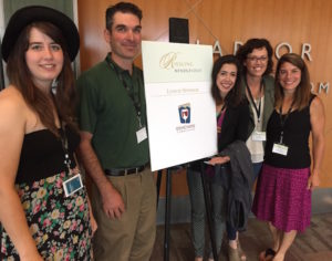 Members of the Idaho wine industry team up to sponsor the Riesling Rendezvous lunch Monday, July 18, 2016 at the Bell Harbor International Conference Center in Seattle. The group included, left to right, Hailey Alexander of Cinder Wines, Mike Williamson of Williamson Vineyards, Moya Dolsby, executive director of the Idaho Wine Commission, Leslie Preston of Coiled Wines and Meredith Smith, winemaker for Ste. Chapelle and Sawtooth wineries.