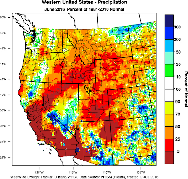 June 2016 precipitation percent of normal in the western U.S. (Image from WestWide Drought Tracker, Western Region Climate Center; University of Idaho)