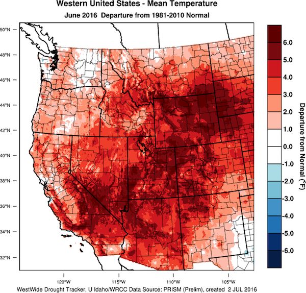 June 2016 temperature departures from normal in the western U.S.