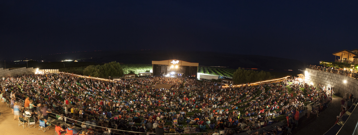 Maryhill Winery, along Highway 14 in Washington state, features a 4,000-seat amphitheater with the Columbia River serving as a backdrop.