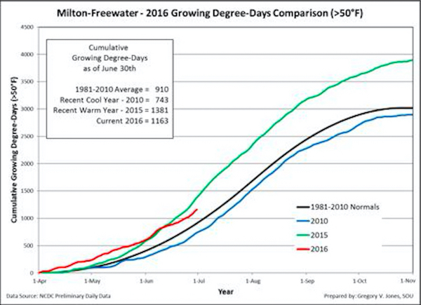 Cumulative growing degree-days (base 50°F, no upper cut-off) for Milton-Freewater, Ore., in the Walla Walla Valley. Comparisons reflect the current vintage, a recent cool vintage (2010), a recent warm vintage (2015) and the 1981-2010 climate normals are shown.