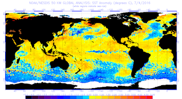 The global sea surface temperatures (°C) for the period ending July 4, 2016.