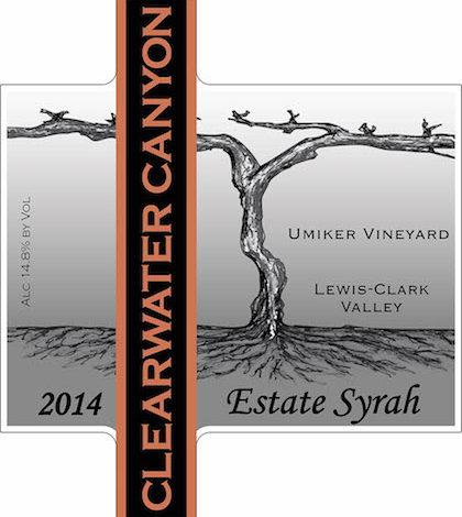 Clearwater Canyon Cellars 2014 Estate Syrah LCV label