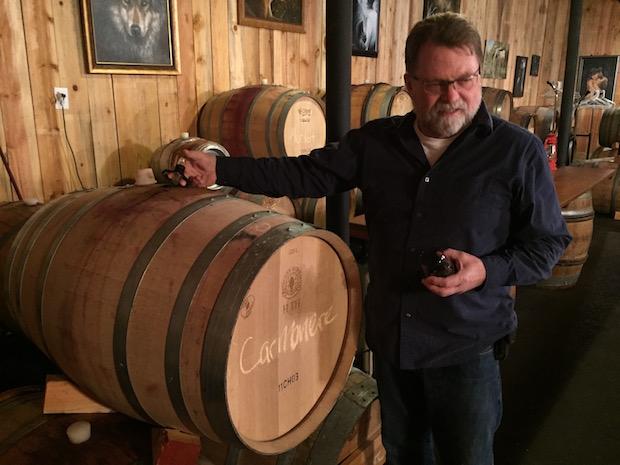 joe ginet plaisance ranch carmenere barrel 1 - TEXSOM awards Best Syrah to So. Oregon producer Reustle