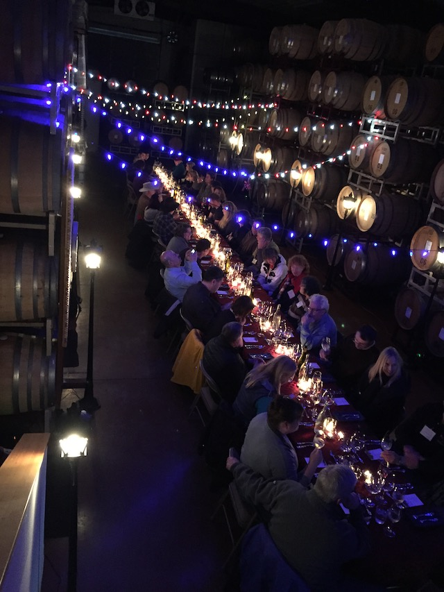Brandborg Winery in Elkton, Ore., stages its annual Nouveau release dinner on the third Thursday in November. Terry and Sue Brandborg provide a multi-course meal for 50 guests in their barrel room featuring the five styles of Pinot Noir they produce - white, rosé, red, nouveau and Port-style. (Photo courtesy of Brandborg Winery)