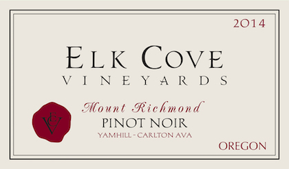 Elk Cove Vineyards 2014 Mount Richmond Pinot Noir label