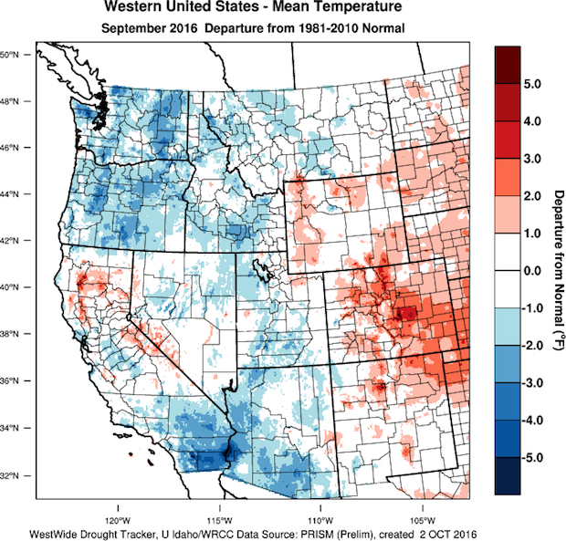 Growing degree-day (GDD) accumulation in September was near normal to slightly below normal in the Pacific Northwest. The region that saw the coolest conditions was in the Columbia and Walla Walla valleys of Washington and Oregon. (Images from WestWide Drought Tracker, Western Region Climate Center; University of Idaho)