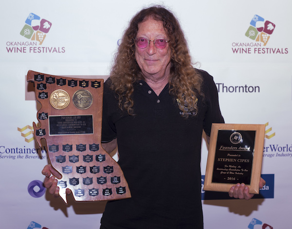 Stephen Cipes, who created the iconic Summerhill Pyramid Winery in Kelowna, British Columbia, received the Okanagan Wine Festivals Society's 2016 Founder's Award.