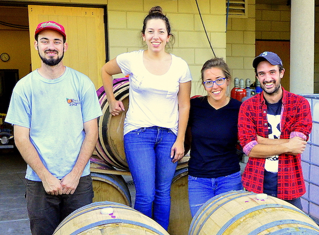 The 2015 Carménère team for Walla Walla Community College's winemaking program features, left to right, Will Thompson, Melanie Kinchen, Ari Nickolisen and Sager Small.