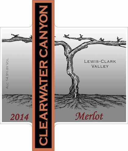 Clearwater Canyon Cellars 2014 Merlot label