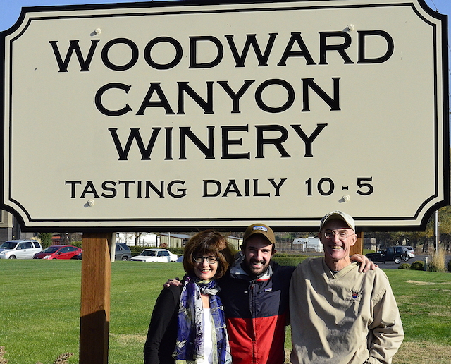 The transition at Woodward Canyon Winery in Lowden, Wash., has begun as winemaking student Sager Small, center, is flanked by his parents - Darcey Fugman-Small and founding winemaker Rick Small.
