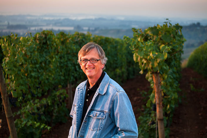 Gary Horner, head winemaker for Erath Winery, stands in the Dundee Hills near his winery in Dundee, Ore. (Photo courtesy of Ste. Michelle Wine Estates)