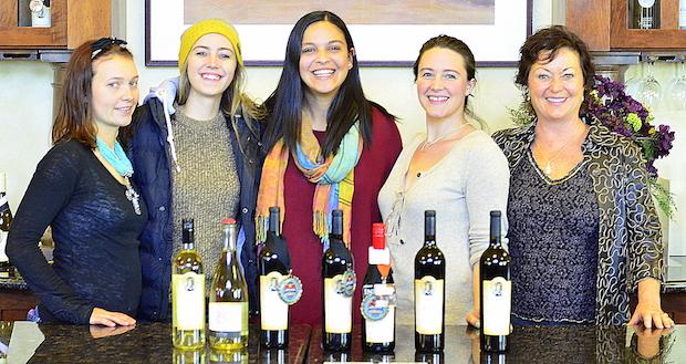 Walla Walla Community College students Bailey Bromily, Ellie Davidson, Devyani Gupta, Annie Martz and Cheri Cassidey discuss their future in the wine industry.