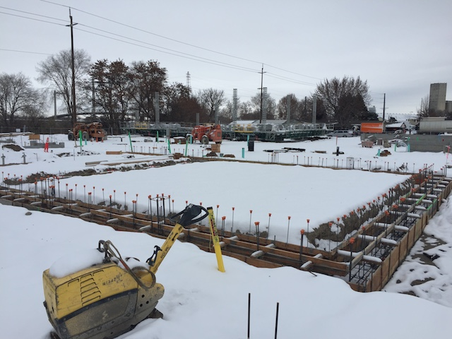 Snow on Tuesday, Dec. 14, 2016, stalls construction of the Columbia Gardens Wine Village in Kennewick, Wash. Columbia Gardens, controlled by the Port of Kennewick, is scheduled to be the new home for Victor Palencia's Vino la Monarcha and Bartholomew Winery, a brand built in Seattle owned by Bart Fawbush.