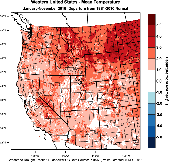 Most of the western United States is tracking warmer than normal for 2016. (Image by WestWide Drought Tracker, Western Region Climate Center; University of Idaho/Courtesy of Gregory Jones, Southern Oregon University)
