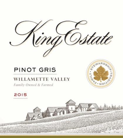 King Estate 2015 Pinot Gris label
