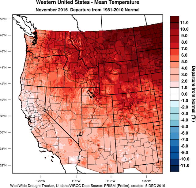 The western U.S. experienced record warm temperatures during November 2016 (WestWide Drought Tracker, Western Region Climate Center; University of Idaho)