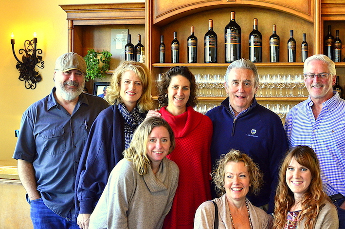 Those participating in the Pepper Bridge Winery pairing were, clockwise starting from the lower left, Jennifer Clapp, Rich Koby, Cynthia Koby, Tracy Shiel, John Shiel, Oliver Batson, Kat Dyer (tasting room attendant) and Julie Batson.