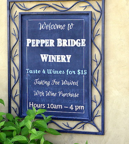 pepper bridge winery sign 420x470 - Pepper Bridge Winery teams up with Fat Duck Inn for delicious class