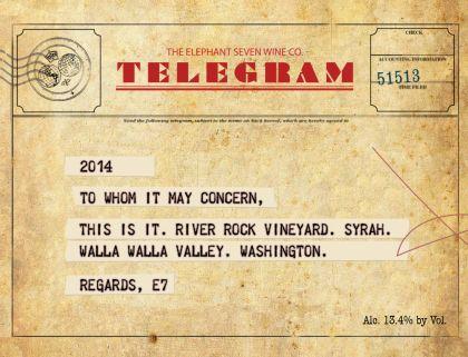 the elephant seven wine co river rock vineyard telegram syrah 2014 label - Washington Syrah continues to grow in popularity