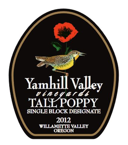 yamhill valley vineyards tall poppy single block designate pinot poir 2012 label - Yamhill Valley Vineyards 2012 Tall Poppy Single Block Designate Pinot Noir, Willamette Valley, $75